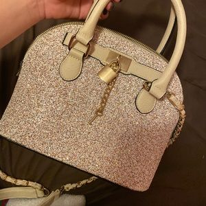Gently used Aldos bag, patten leather,